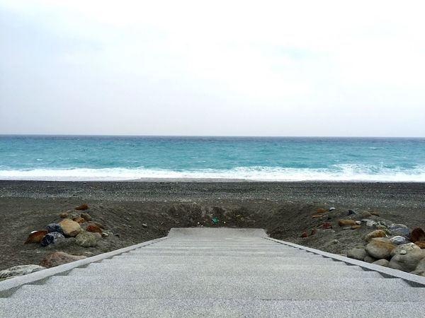 Ocean Ocean View Waves Beach Rocks Water Pacific Ocean Sea Blue Nature Stairway Stairs Hualien Hualien, Taiwan Gray Scenic View