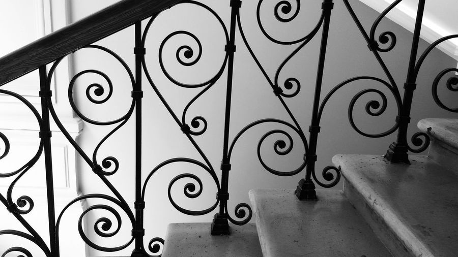 Staircase with wrought iron balustrade