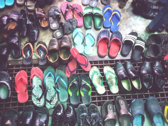 slippers and shoes are tucked neatly Choice Variation Shoe Multi Colored No People Day Arrangement