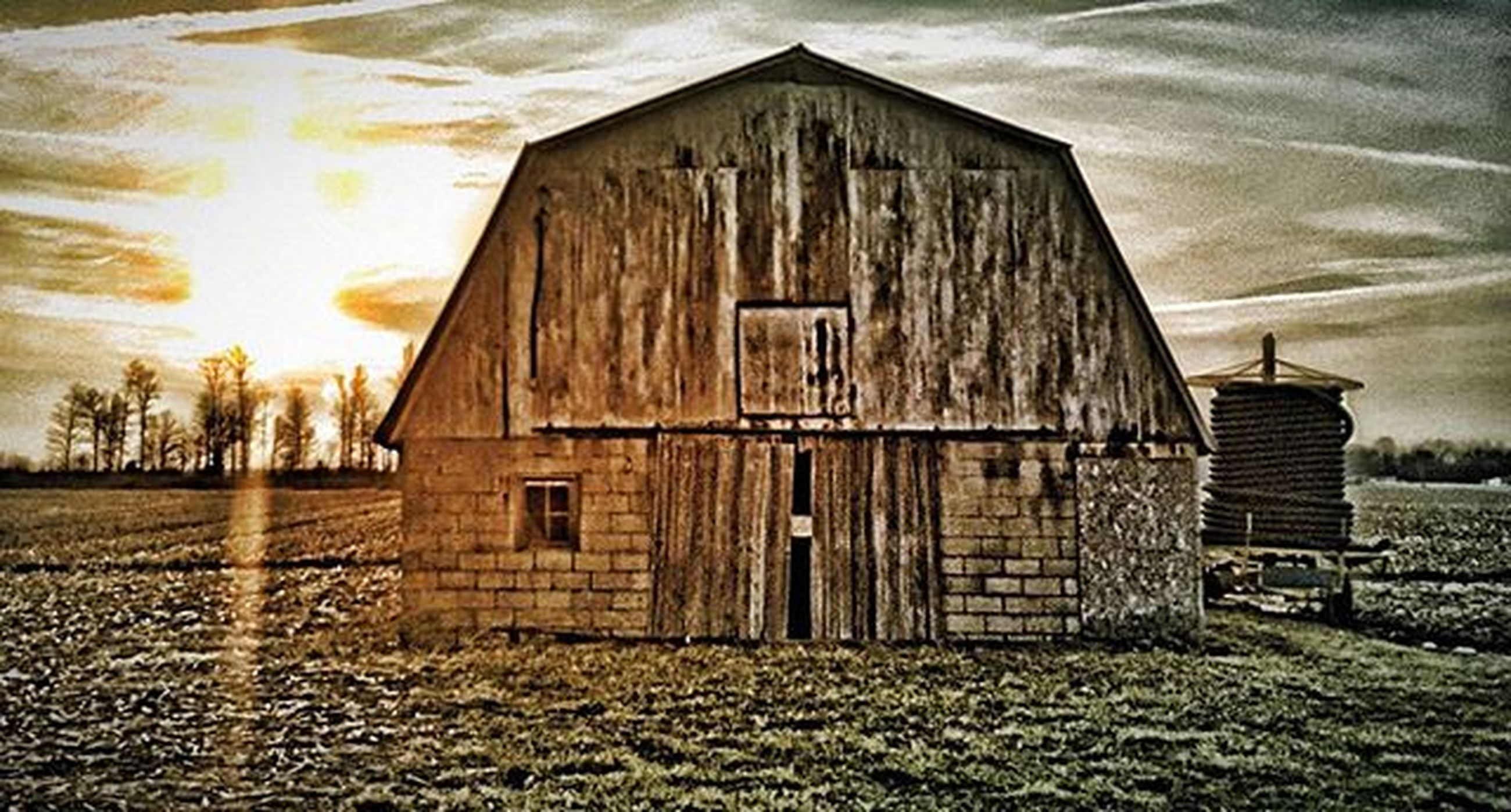 architecture, built structure, building exterior, sky, field, house, cloud - sky, abandoned, barn, rural scene, grass, landscape, cloud, obsolete, old, damaged, wood - material, no people, sunlight, outdoors