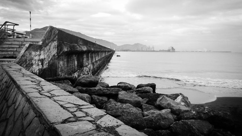 Breakwater this morning Melancholic Landscapes Blackandwhite Bw_collection Monochrome