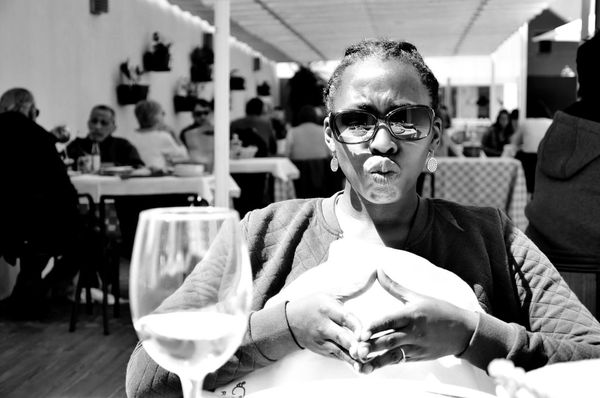 duckface_bw D5100 Nikon Nikon D5100  Scanaki Check This Out Duckface Porto Black And White Friday Cheerful Close-up Day Focus On Foreground Front View Happiness Indoors  Leisure Activity Lifestyles Looking At Camera One Person People Portrait Real People Restaurant Sitting Smiling Table Women Young Adult Eyeglasses  Stories From The City The Portraitist - 2018 EyeEm Awards The Traveler - 2018 EyeEm Awards The Still Life Photographer - 2018 EyeEm Awards The Creative - 2018 EyeEm Awards Summer Road Tripping The Street Photographer - 2018 EyeEm Awards Love Is Love