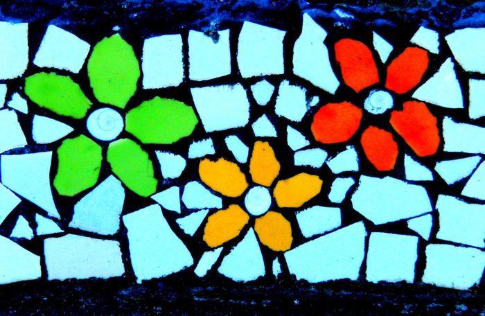 Australia Decoration Design Detail Flower Power🌼 Flowers Groovy Mosaic Tiles Multi Colored
