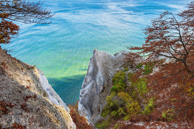 Baltic Sea coast on the island Moen in Denmark. Beauty In Nature Water Sea Scenics - Nature Rock Nature Tranquil Scene No People Outdoors Landscape Shore Coast Baltic Sea Møen Klints Moen Denmark Scandinavia Travel Destinations Travel Vacation Tourism White Cliffs  Chalk Cliffs Autumn Trees