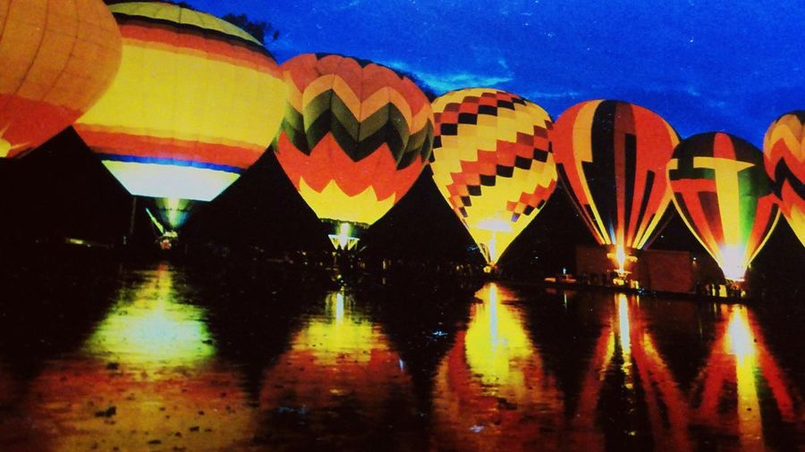 air balloons Hot Air Baloon Baloons River Riverside River View Riverscape Multi Colored Night Water Outdoors Sky No People Nature