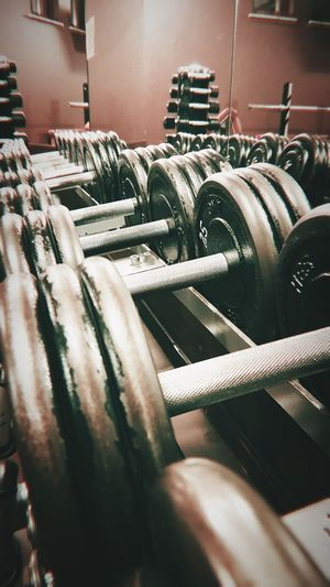 iron dumbbells in gym Fitness Trening Training Silownia Gym Dumbbell Iron Workout First Eyeem Photo