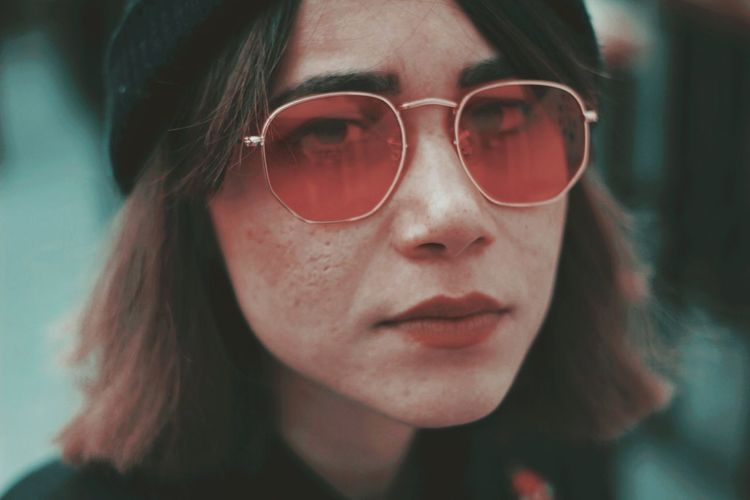 Look into my eyes, it's the only way you know I'm telling the truth. Glasses Headshot Portrait One Person Close-up Fashion Young Adult Sunglasses Lifestyles Young Women Focus On Foreground Women Hair Hairstyle Beautiful Woman International Women's Day 2019