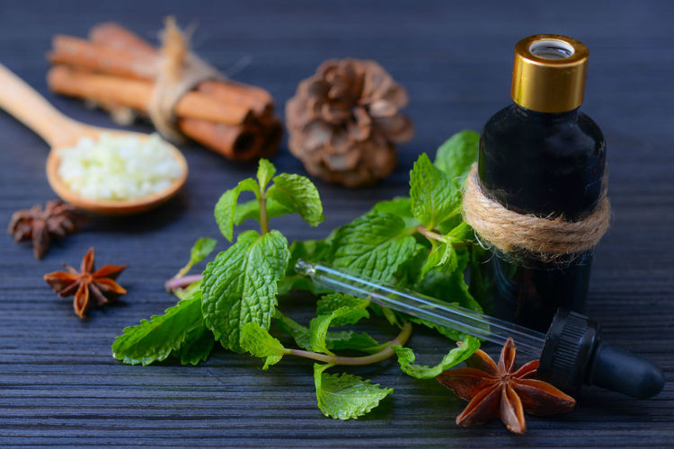 Close-up of mint leaves with bottle and dropper on table