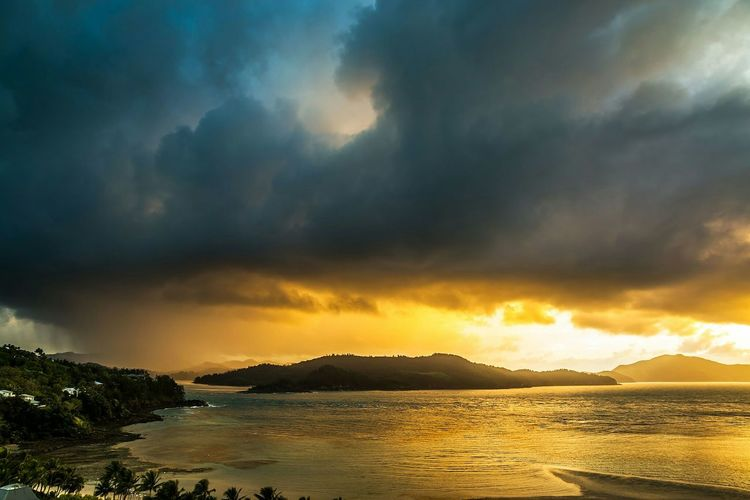 Sunrise and storm over the Great Barrier Reef, from Hamilton Island. Holiday View Beautiful Surroundings Traveling Beautiful Surroundings