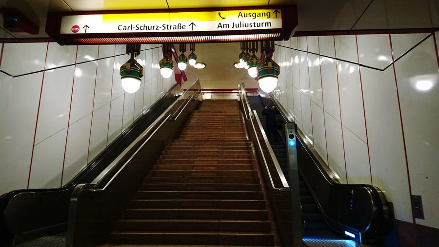 Low angle view of illuminated steps