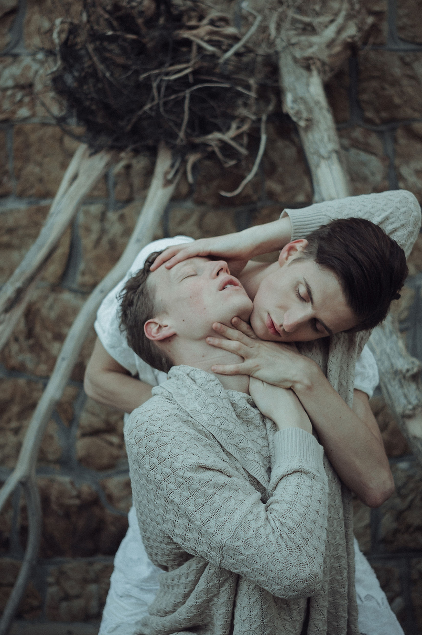 togetherness, two people, love, eyes closed, embracing, bonding, day, outdoors, happiness, affectionate, young women, smiling, leisure activity, real people, childhood, close-up, winter, portrait, tree, nature, young adult, beautiful woman, warm clothing, adult, people