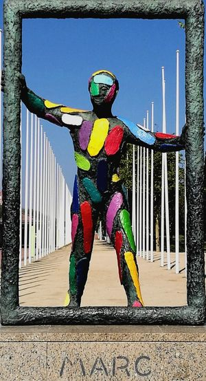 Colored guy One Person One Man Only Portrait Barcelona, Spain Statue Colors Colorful Colorsplash Colors and patterns Marc