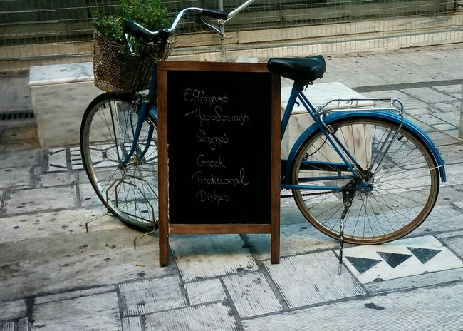 Vintage Bike Blackboard  Sign Cafe Aiolou Athens Greece Hellas