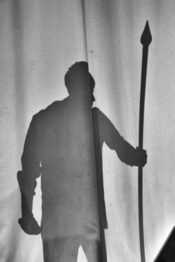 Black & White Black And White Blackandwhite Indoors  One Person People Real People Rear View Shadow Shillouette Siluet Spear Standing Young Adult