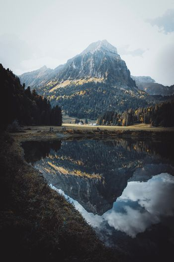 Mountain Water Reflection Scenics - Nature Tranquil Scene Sky Autumn Mood
