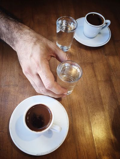 Greece Coffee Cup Drink Refreshment Table One Person Human Hand Human Body Part Holding Esspresso Beverage Turkish Coffee Water Refreshment Coffee Time Coffee Break Turkishcoffee