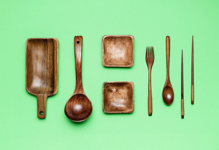 High angle view of objects against blue background
