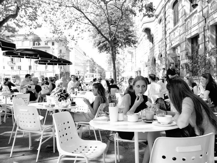 Food And Drink Cafe Restaurant Lifestyles Sidewalk Cafe City Switzerland City Life Street Zürich EyeEmSwiss From My Point Of View Streetphotography Street Photography Street Life Streetphoto_bw Monochrome Blackandwhite EyeEm Best Shots - Black + White Black And White