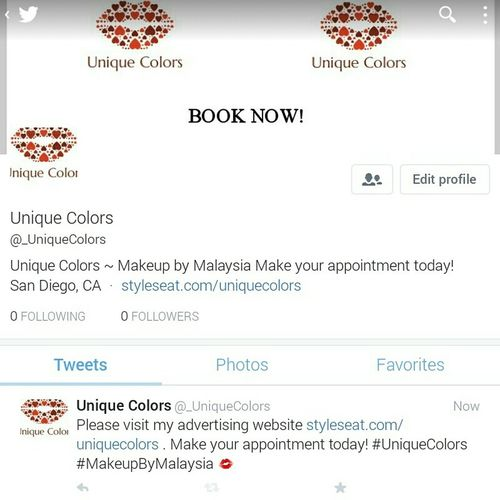 Please follow the official twitter account for Unique Colors! @_UniqueColors I am accepting appointments! please make sure you book your appointment first at www. styleseat.com/uniquecolors First Eyeem Photo MakeupByMalaysia UniqueColors BookNow