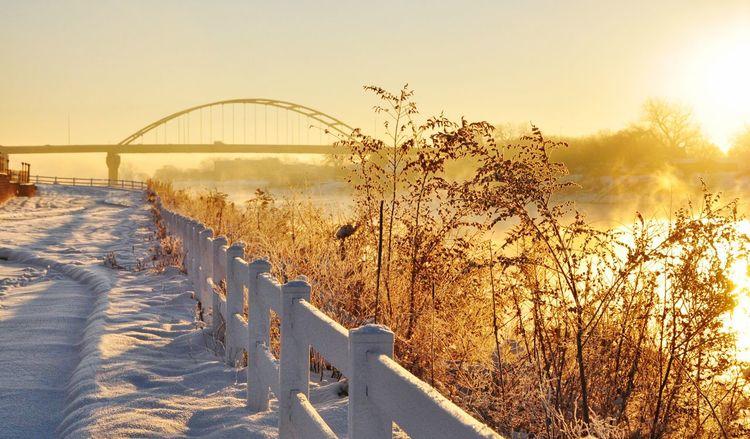Morning magic in a winter wonderland... Sunrise_Collection Water_collection Missouri River Sioux City EyeEm Nature Lover Bridges Golden Hour Morning Fog Winter Wonderland