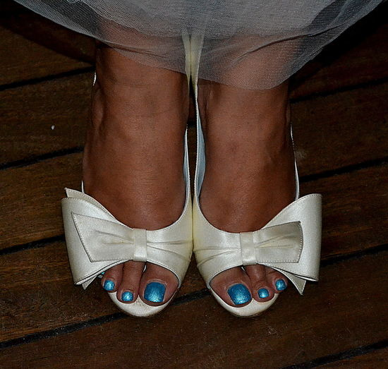 A Bit Of Fun Bows Brides Shoes Close-up Feel The Journey One Person Satin Slippers Something Blue