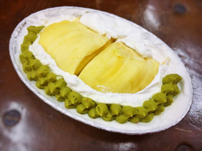 Durian cake Dessert Thailand Cuisine Cake Durian Yellow And Green Sweet Food Sweet Food High Angle View Table Ready-to-eat