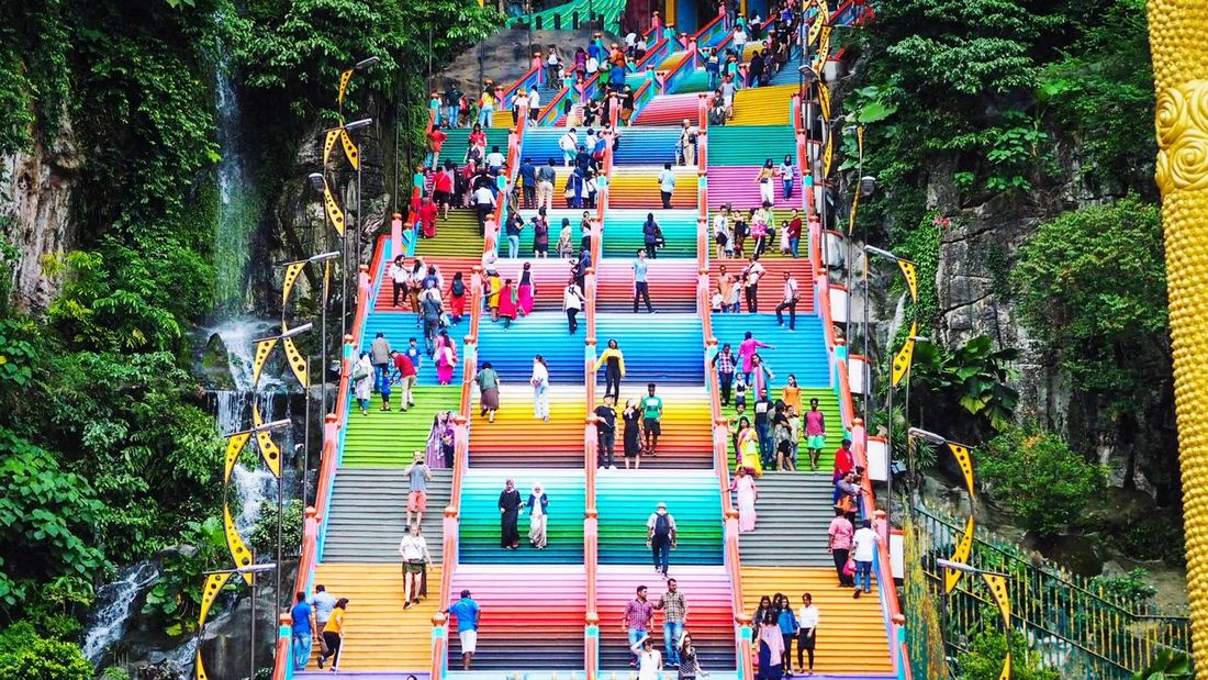 Colorful Stairs Colors Temple Group Of People Large Group Of People Real People Multi Colored Crowd Lifestyles
