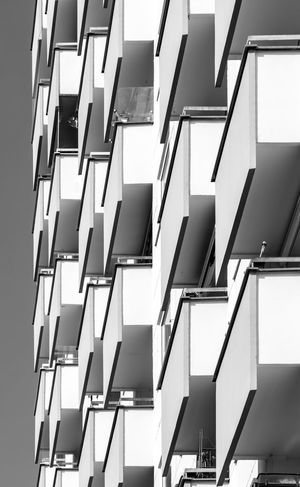 Black & White Black And White Modern Balconies Balcony Built Structure Building Exterior Architecture Building Low Angle View No People Pattern Residential District Window Apartment City Office Building Exterior Repetition In A Row Sunlight