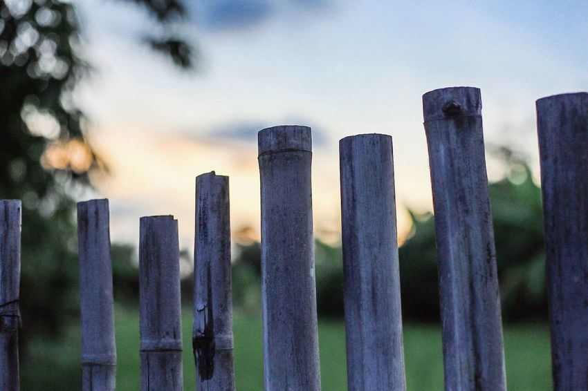 Sunset Boundary Fence Barrier Sky No People Nature Wood - Material Outdoors Cloud - Sky Protection Safety Built Structure Wooden Post