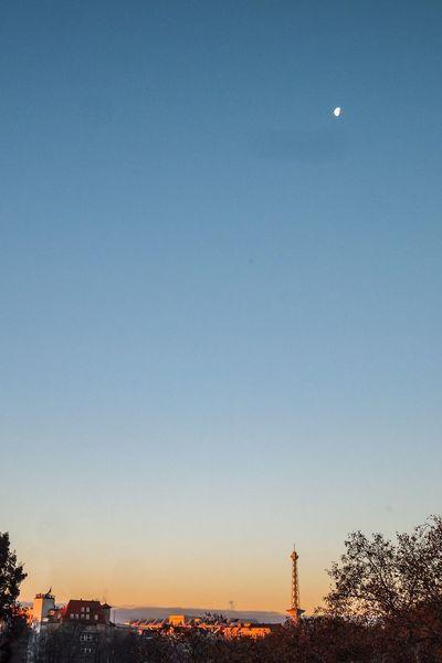 Morgenstunde über dem Lietzensee Dawn Of A New Day Dawn Sonnenaufgang Morgenstimmung Lietzensee Charlottenburg  Funkturm Berlin Funkturm Sky Architecture Moon City No People Clear Sky Blue Cityscape Building Illuminated Silhouette