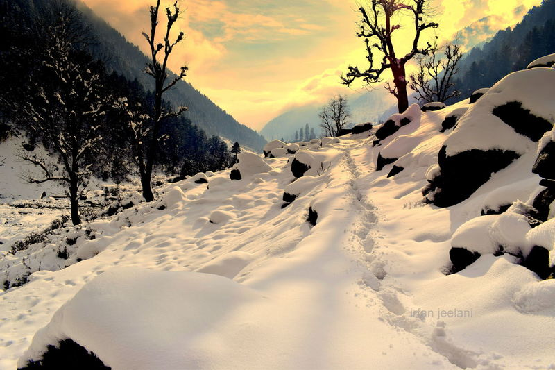 Wilderness Hinterland EyeEm Selects Himalayas Antique Tulail Biblical  Shades of Winter Kashmir Unique Planet Earth Alpinism Alpine Hiking Lanscape Photography Cold Temperature Outdoors Sky Beauty In Nature Day Tranquility Mountain Winter Scenics Landscape Cloud - Sky Tree Nature No People Sunset Snow