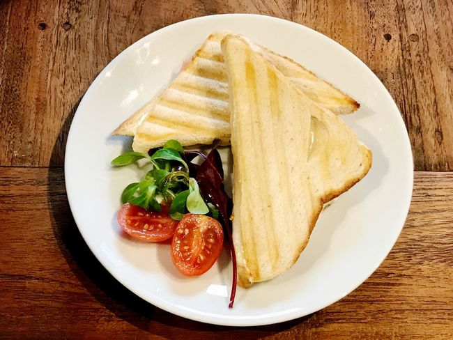 cheese and ham toast Cheese Sandwiches Cheese Sandwich Toast Food Plate Food And Drink Ready-to-eat Freshness Table Still Life High Angle View Directly Above No People Close-up Meal Wood - Material Bread