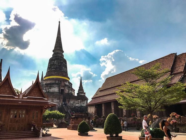Architecture Building Exterior Built Structure Religion Sky Cloud - Sky Spirituality Day Place Of Worship Outdoors Travel Destinations Buddha Statue Buddhalism Wat Thai Low Angle View Buddha Architecture History Travel Place Of Worship Old Ruin Sculpture Statue Trip Ayutthaya