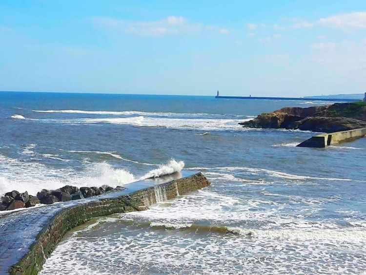 Sea Water Beach Horizon Over Water Outdoors Beauty In Nature Day Nature Cullercoats Bay Eyemphotography Beachphotography EmEyeNewPhoto Blue EyeEm Best Shots - Nature Coastal_collection Waves, Ocean, Nature Rocks On The Shore Tranquility Tranquil Scene Sand Cloud - Sky Sky Scenics No People Wave