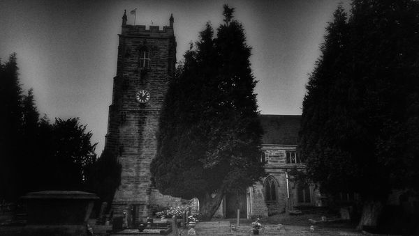 In A Country Churchyard Church Spooky Atmosphere Light And Dark