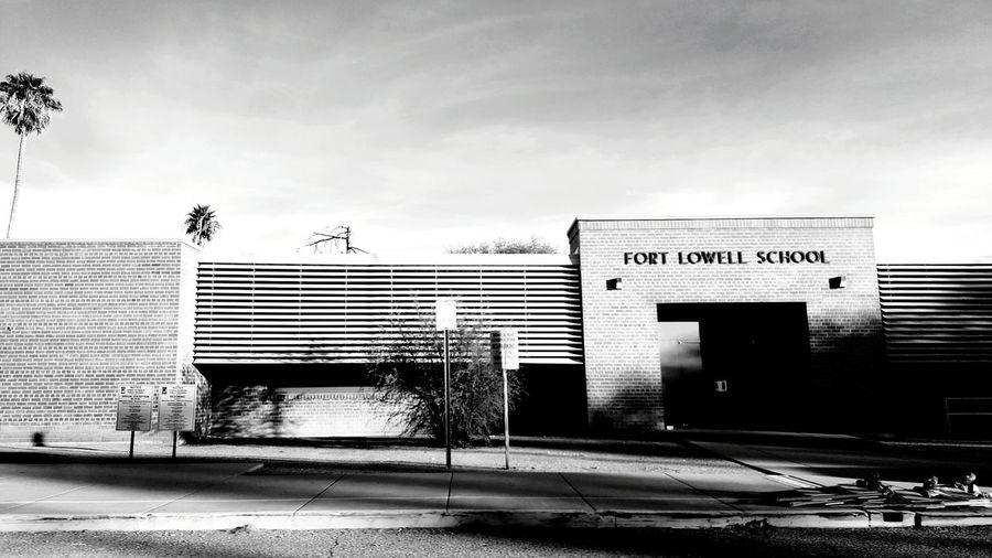 Elementary School My Elementry School Taking Photos Day Building Exterior Built Structure Architecture Outdoors No People Sky Blackandwhite Photography Black And White Tucson Arizona  Check This Out Landscapephotography Sunlight Blackandwhite Landscape Trees