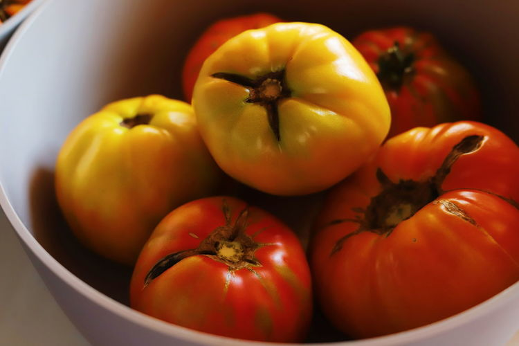 High angle view of tomatoes in bowl