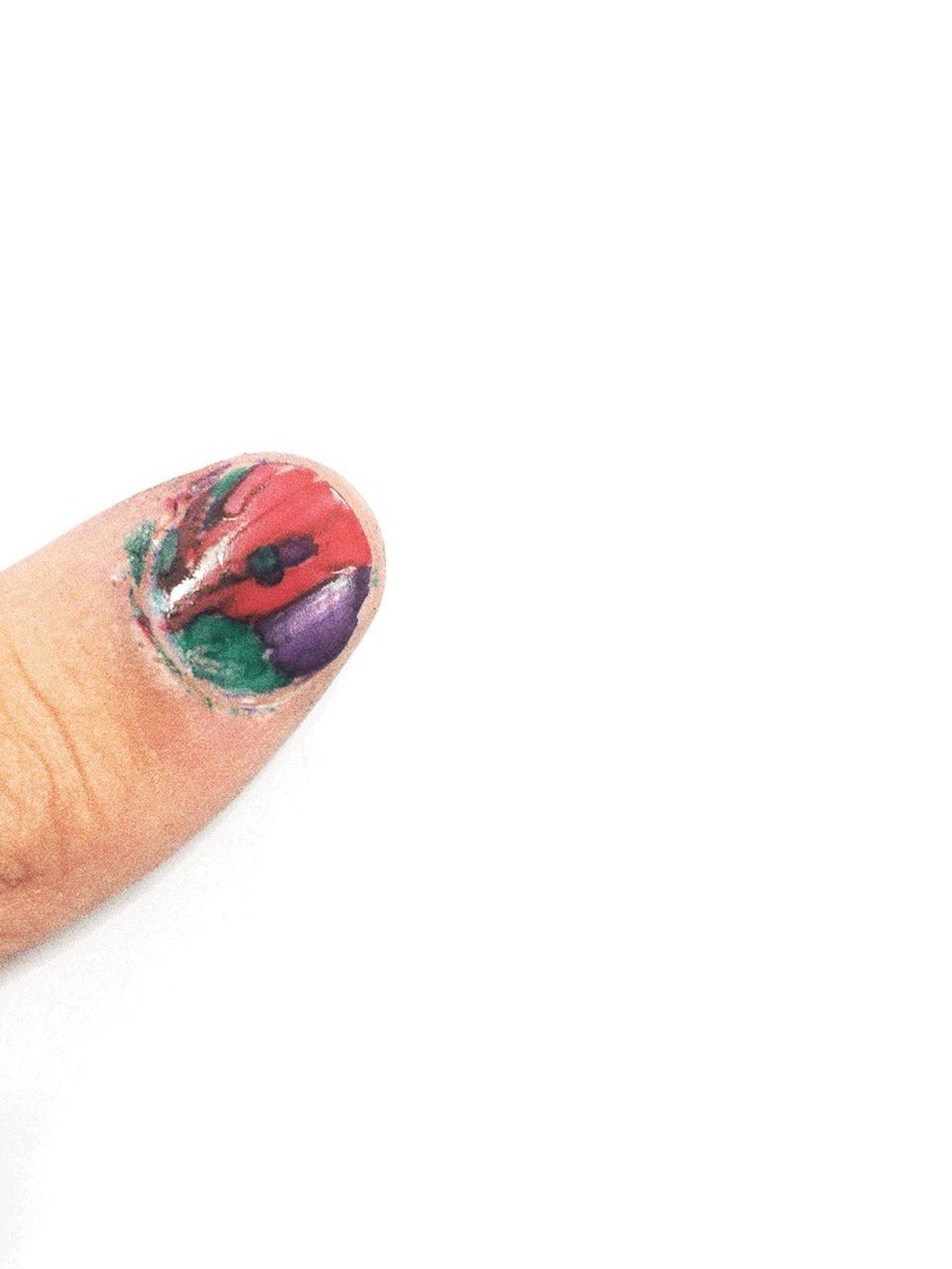 white background, copy space, studio shot, human body part, human finger, one person, multi colored, close-up, human hand, nail polish, people