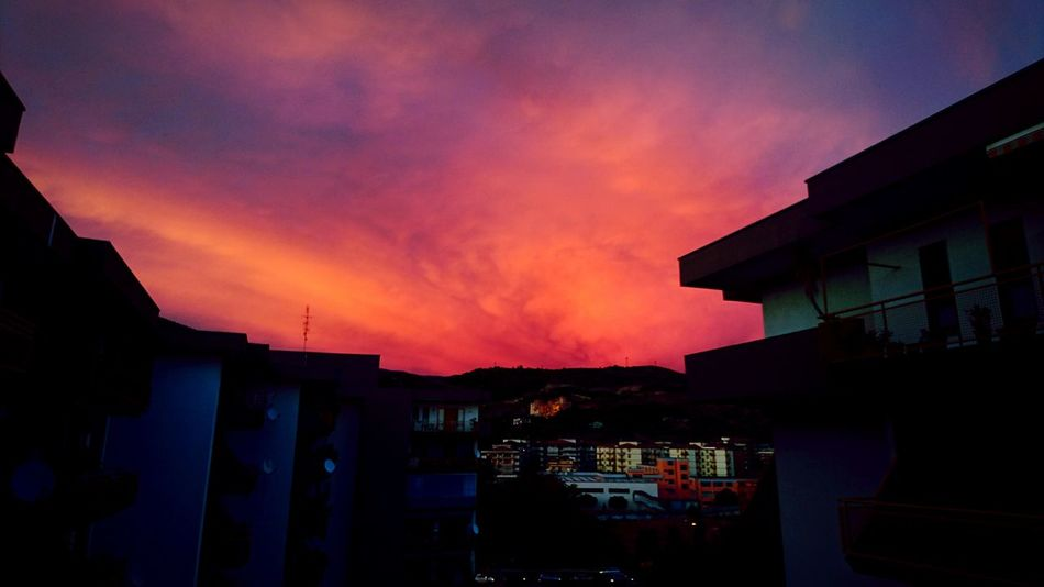 Blood sky. Sky RedSky Red Beauty In Nature EyeEmNewHere Built Structure Architecture House Building Exterior No People Sunset Outdoors Night City Cityscape Riot Colour Your Horizn