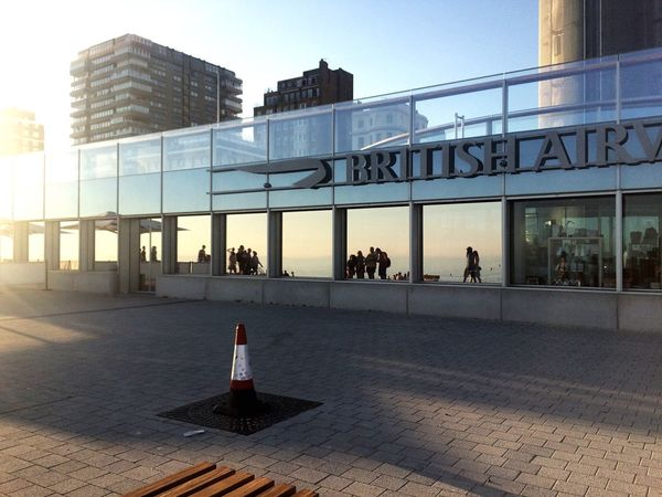 Architecture Built Structure Building Exterior City Day Outdoors Sky Modern People Mirror Reflection Glass British Airways Sunlight Shadow Women Men