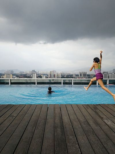 Don't care about the weather, just jump Swimming Pool Outdoors Daughterdearest The Places I've Been Today