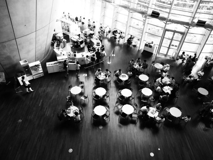 High Angle View Of People In Restaurant