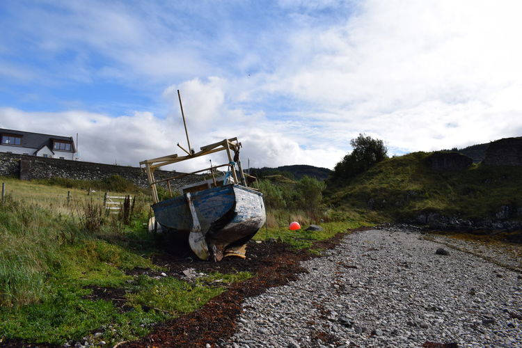 Beach Boat Cloud - Sky Day Nature One Person Outdoors People Scotland Ship Recked Shiprecked Sky Washed Up