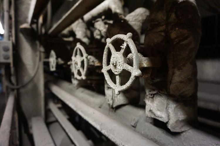 Close-up of machine valves
