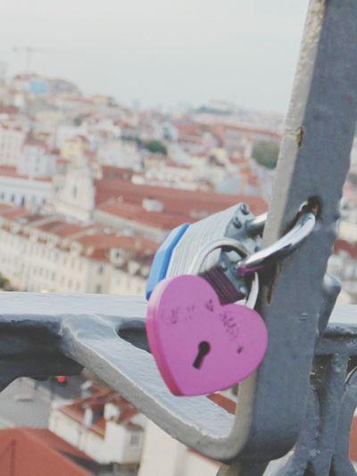 Padlock in elevador da Glôria, Lisbon-Portugal. Heart Shape Heart Elevador Da Gloria Lisbon Lisboa Portugal Lisbon - Portugal Lisbonlovers Security Lock Padlock No People Day Outdoors Close-up