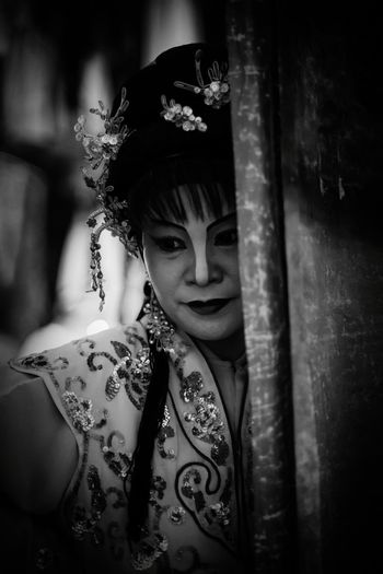 Shades Of Grey Intricate Costume Portrait Of A Teochew Opera Singer Life Of An Artiste Street Opera Backstage Traditional Culture Black And White Painted Face Lady Asian Woman Chinese Opera Troupe