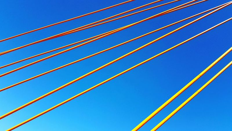 Showcase: February Yellow Blue Blue Sky Sky Yellow Line LINE Horizontal Diagonal Lines Extended Ropes Bridge Space Man Made Artificial Synthetic Nature And Artificial.