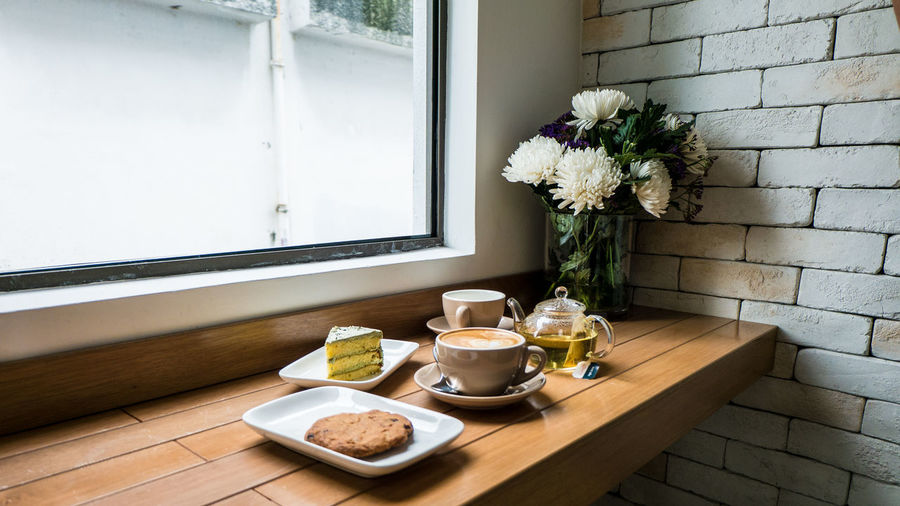 Cafe Day Flower Food Freshness Home Interior Indoors  No People Relax Table Vase Window