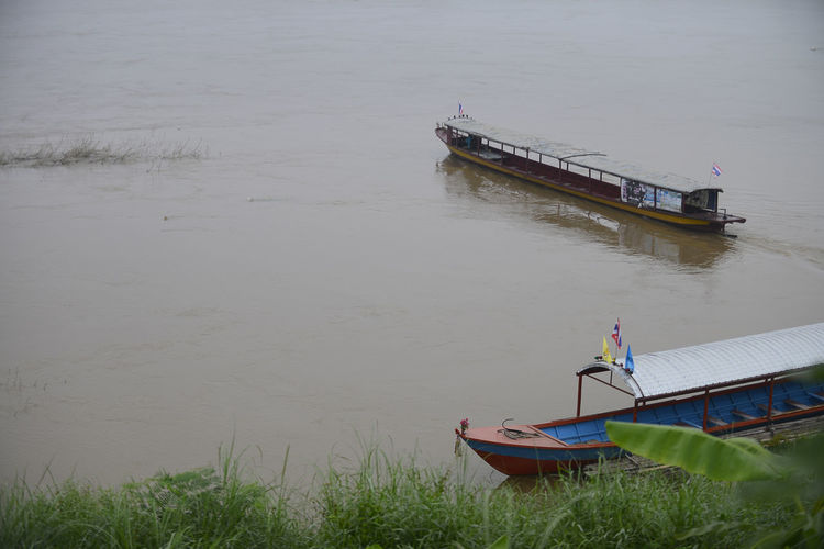 High angle view of boat moored in river