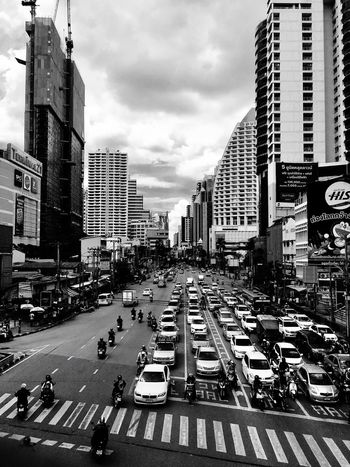 Asok BTS Station//Bangkok//Thailand Train Station Traffic Endless Road Black And White First Eyeem Photo Let's Go. Together.